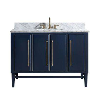 Mason 49 in. W x 22 in. D Bath Vanity in Navy Blue/Gold Trim with Marble Vanity Top in Carrara White with White Basin