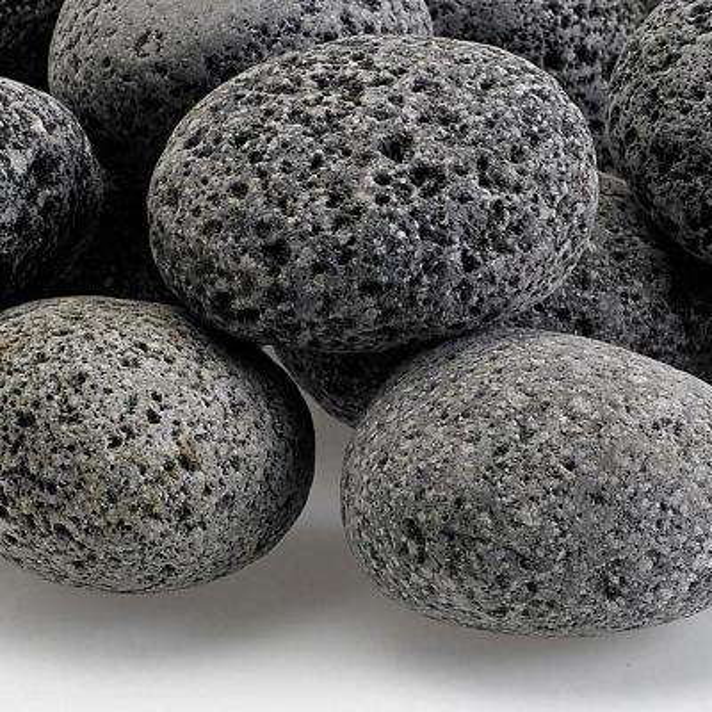 Medium Lava Stone (Tumbled) Gray / Black 1 in. - 2 in. 20 lbs. Bag