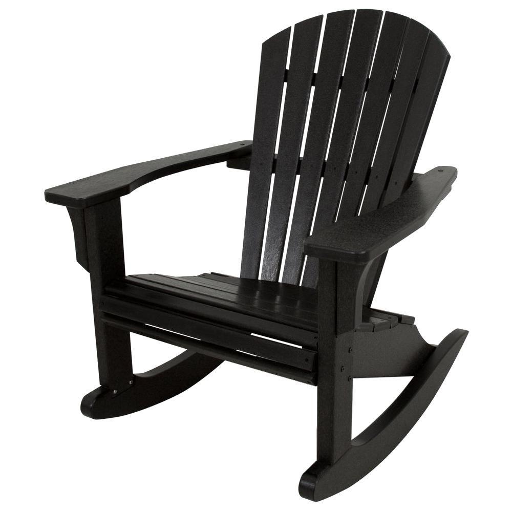 Polywood seashell black patio rocker shr22bl the home depot - Rocking chair de jardin ...