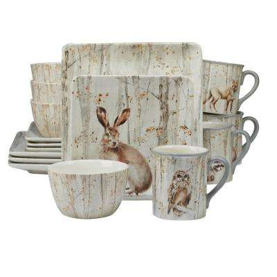 A Woodland Walk 16-Piece Grey and Sepia Dinnerware Set