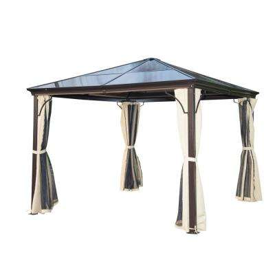10 ft. x 10 ft. Aluminum Frame and Polycarbonate Hardtop Gazebo Canopy Cover with Mesh Net Curtains and Durability