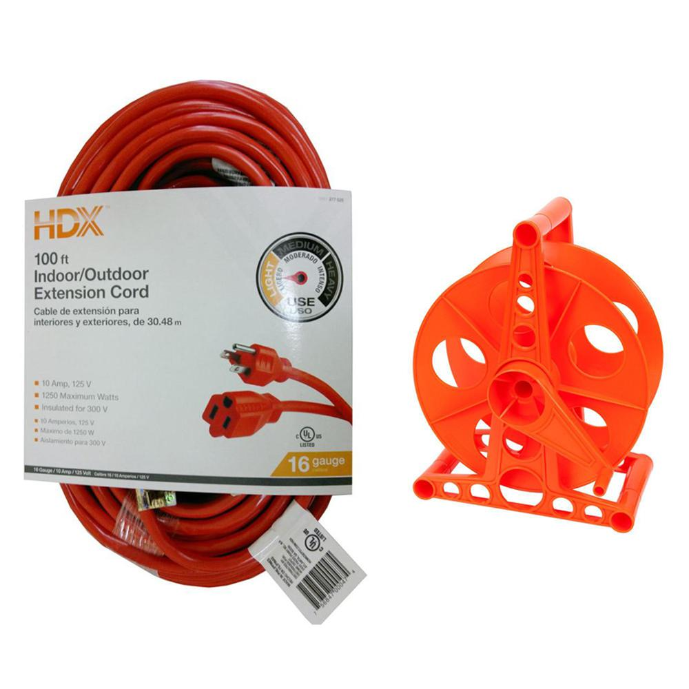 HDX 100 ft. 16/3 Indoor/Outdoor Extension Cord, Orange and 150 ft. 16/3 Extension Cord Storage Reel