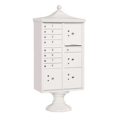 8-Compartment Post-Mount Regency Decorative Cluster Box Unit Type VI USPS Access in White