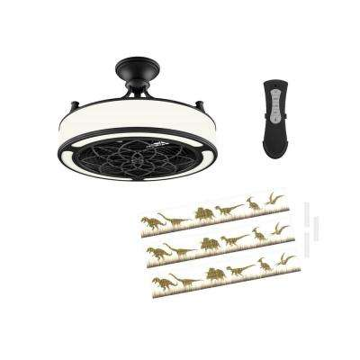 Anderson 22 in. LED Indoor/Outdoor Black Ceiling Fan with Remote Control and Dinosaur Insert Panel