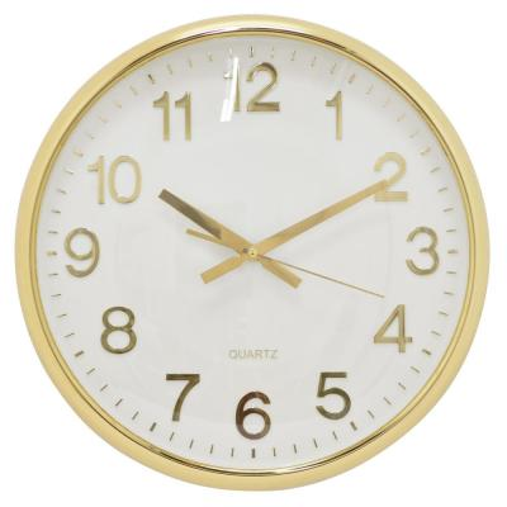 15 in. Shiny Gold Wall Clock