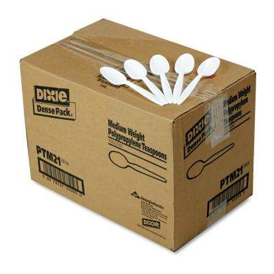 Medium Weight Polypropylene Teaspoons, White, 1000 Per Case
