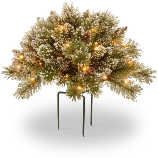 36 in. Glittery Bristle Pine Urn Filler with Battery Operated LED Lights