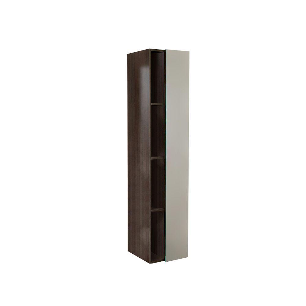 Fresca 15-3/4 in. W x 67 in. H x 12 in. D Bathroom Linen Storage Cabinet with Mirror in Gray Oak
