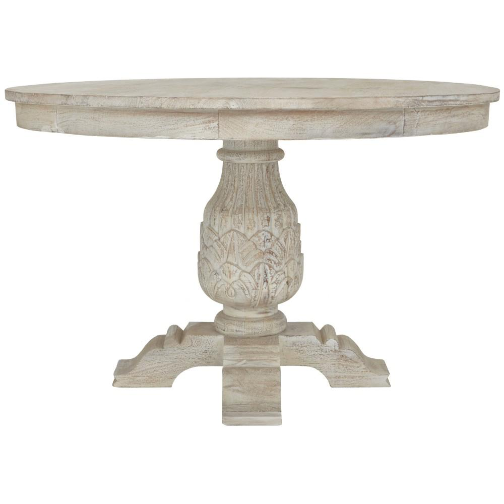 Home Decorators Collection Kingsley Sandblasted White Round Dining Table 9690100980 The Home Depot