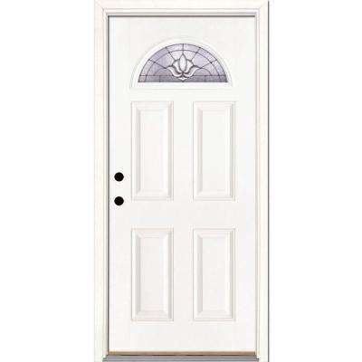 37.5 in. x 81.625 in. Medina Zinc Fan Lite Unfinished Smooth Right-Hand Inswing Fiberglass Prehung Front Door