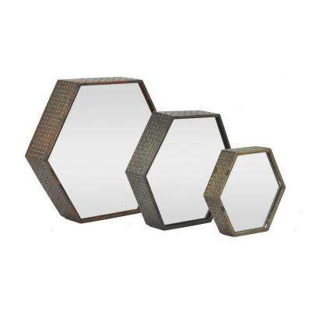 16 in. Metal Mirrors in Brown (Set of 3)