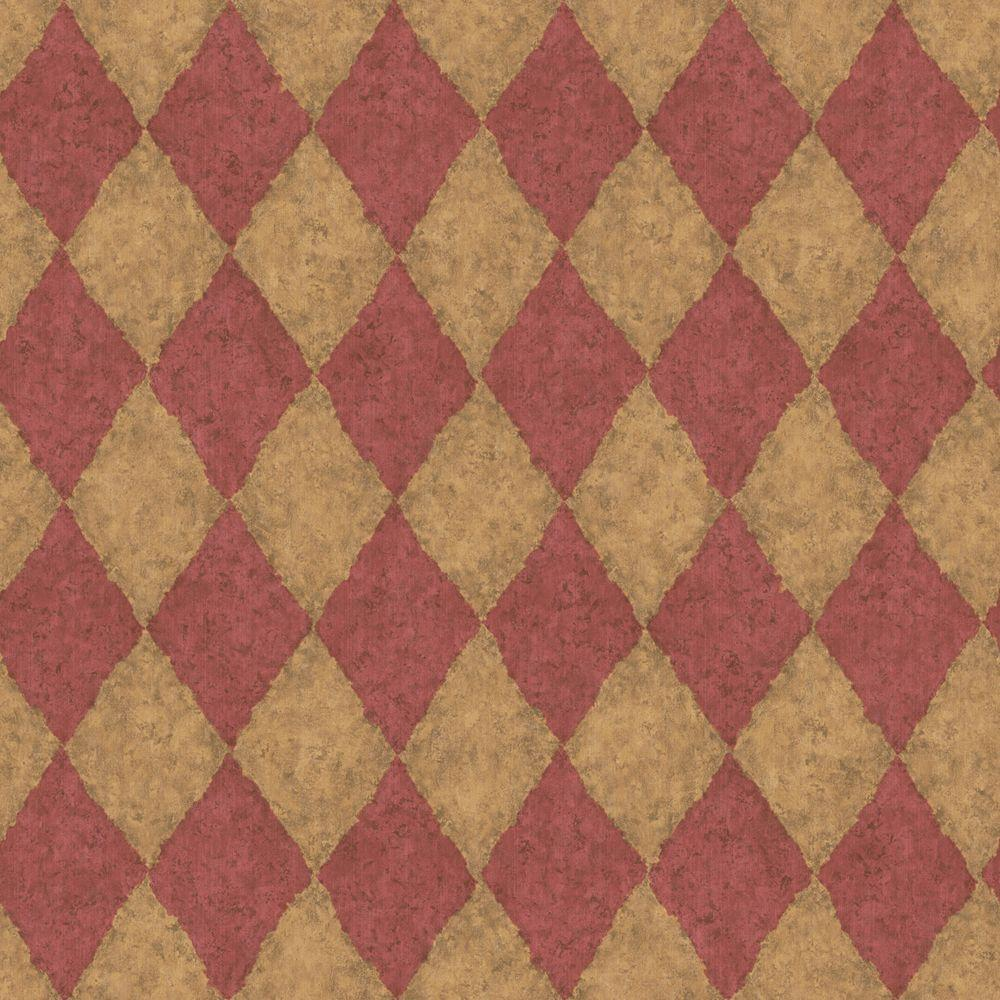 The Wallpaper Company 56 sq. ft. Red and Brown Earth Tone Diamond Harliquin Wallpaper