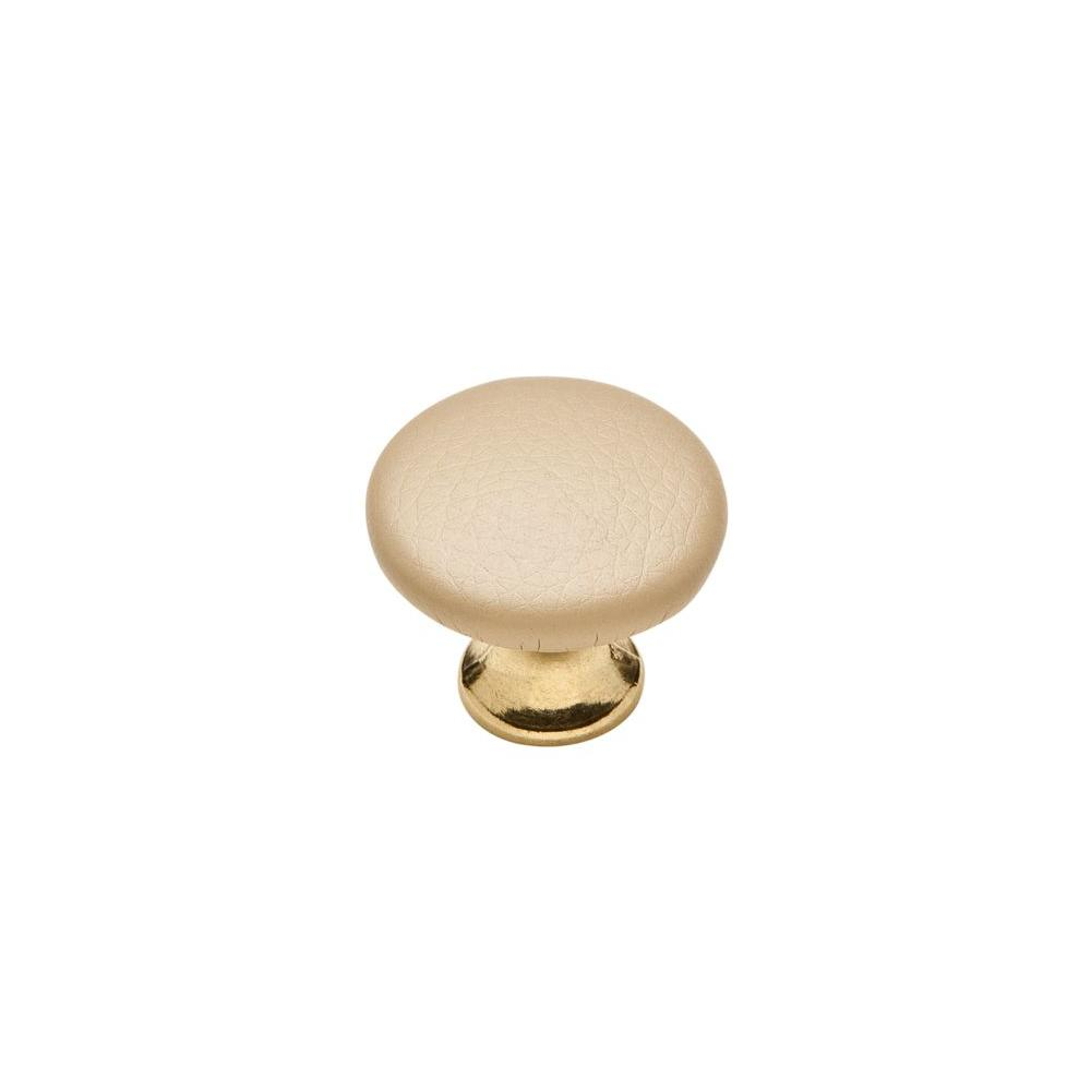 Knobware Tan Sta Keeln Faux Leather Covered 1-1/8 in. Burnished Brass/Tan Cabinet Knob