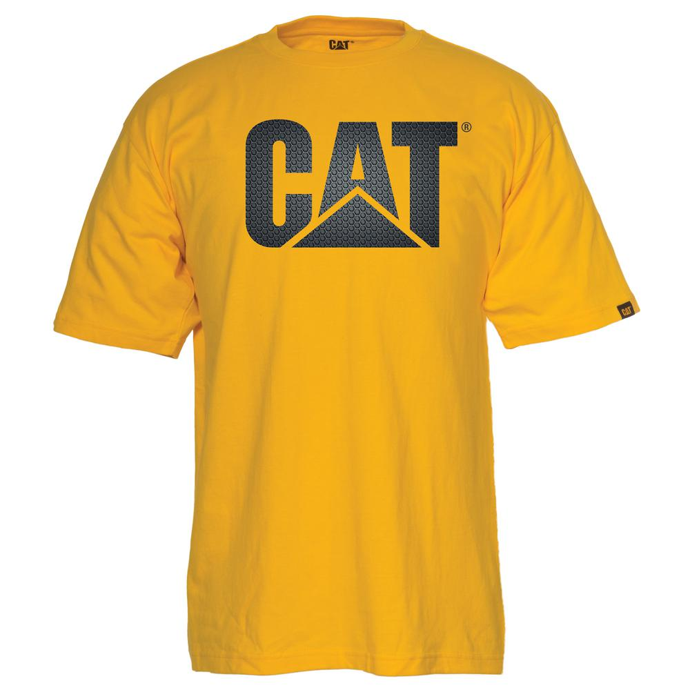 Caterpillar Custom Logo Mens Large Yellowmetal Grate Cotton Short