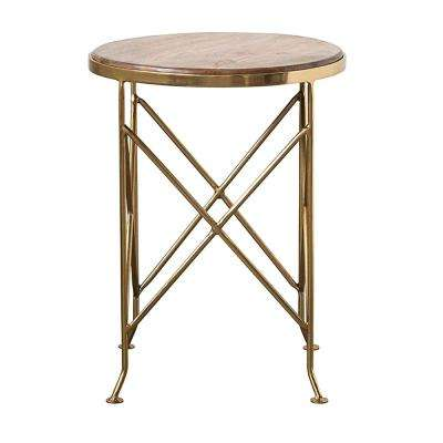 Collected Notions Brown Mango Wood Side Table with Gold Metal Legs