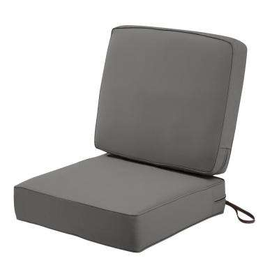 Montlake FadeSafe 25 in. W x 22 in. H Light Charcoal Grey Outdoor Lounge Chair Seat Cushion with Back Cushion