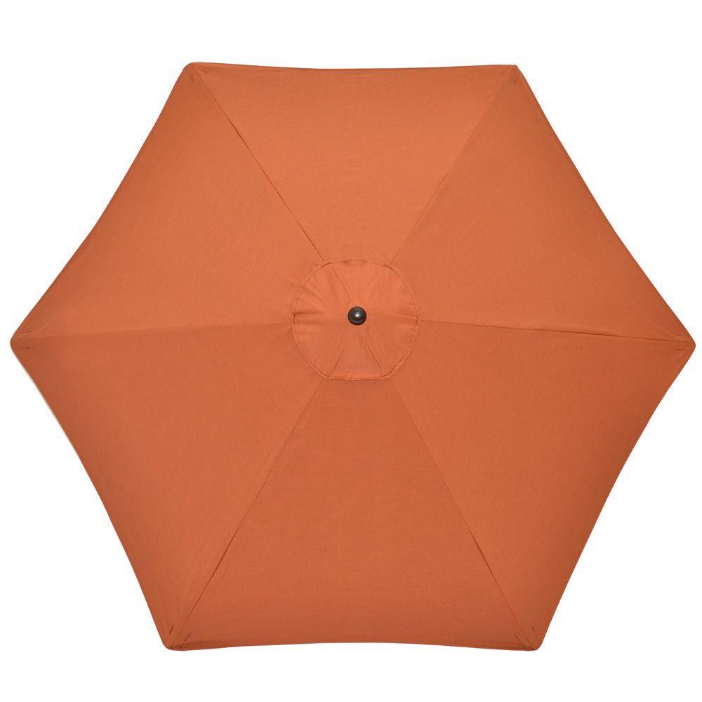 Hampton Bay 9 ft. Aluminum Patio Umbrella in Canvas Paprika Sunbrella-DISCONTINUED