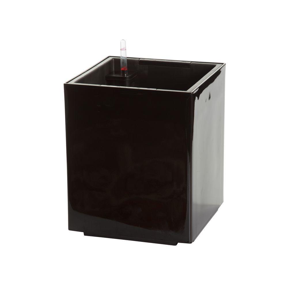 Modena 12 in. Cube Gloss Black Plastic Self Watering Planter