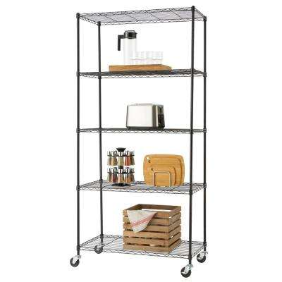 75 in. H x 36 in. W x 18 in. D 5-Tier NSF Wire Shelving Rack in Black