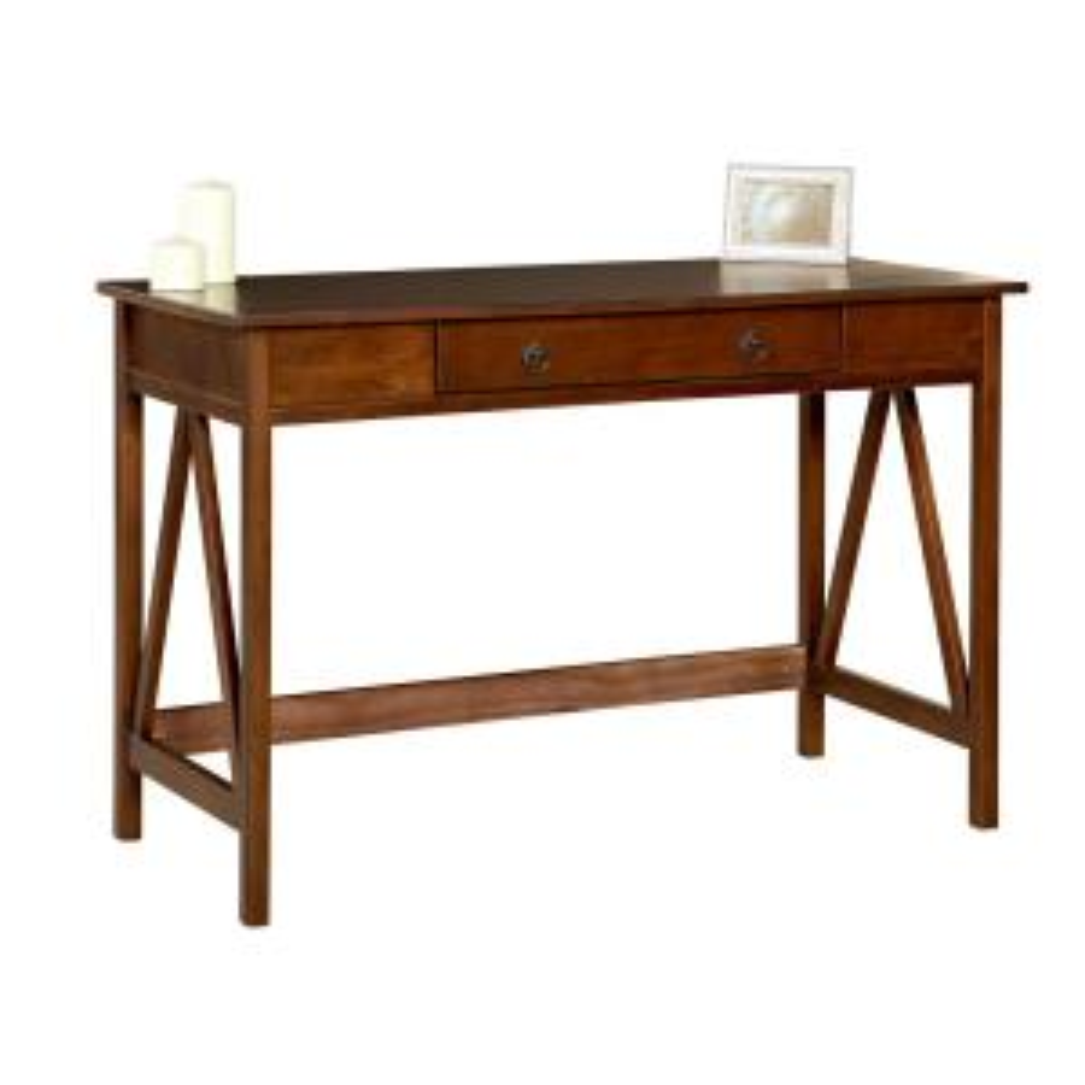Internet #205942118. Linon Home Decor Titian Antique Tobacco Desk