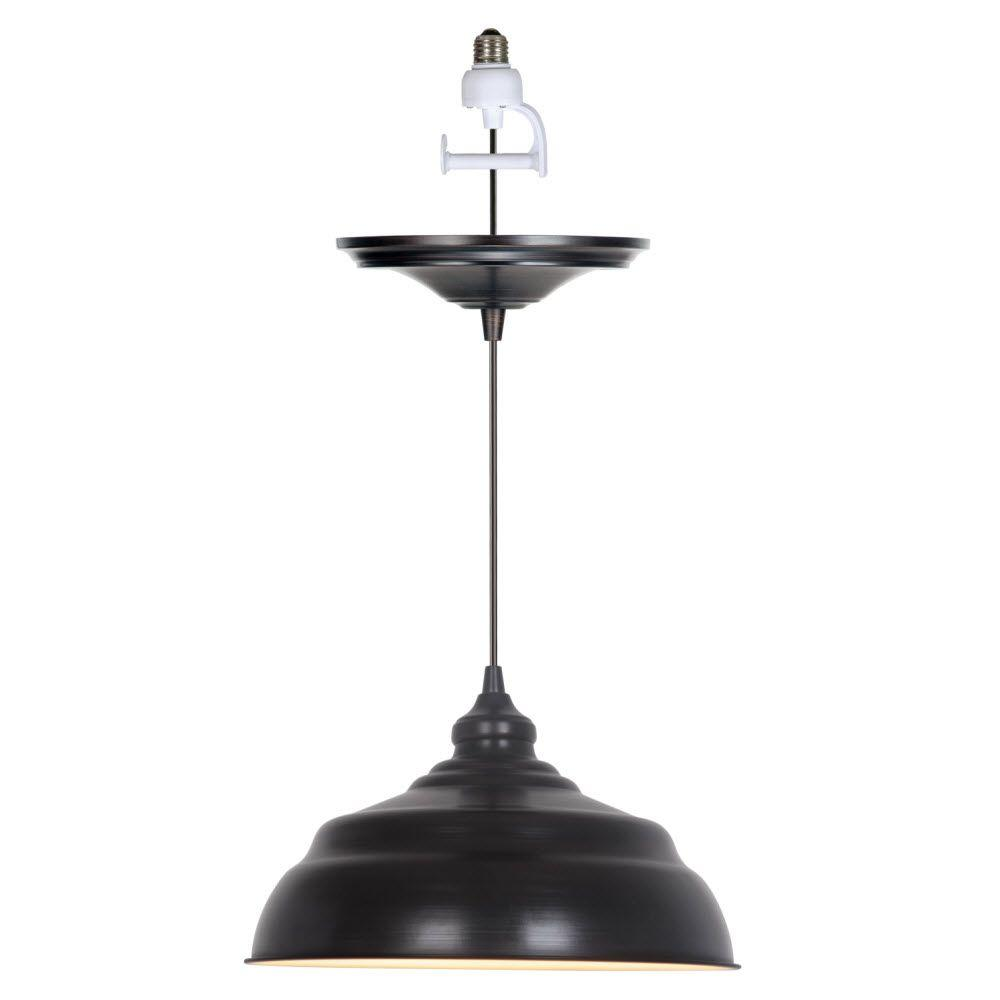 Home Decorators Collection Dane 1-Light Brushed Bronze Pendant Conversion Kit with Brushed Bronze Shade