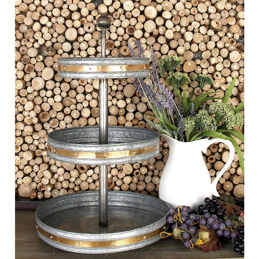 24 In 3 Tiered Round Gray Iron Tray Stand With Copper Band Accents