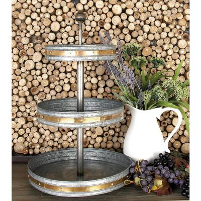 24 in. 3-Tiered Round Gray Iron Tray Stand with Copper Band Accents