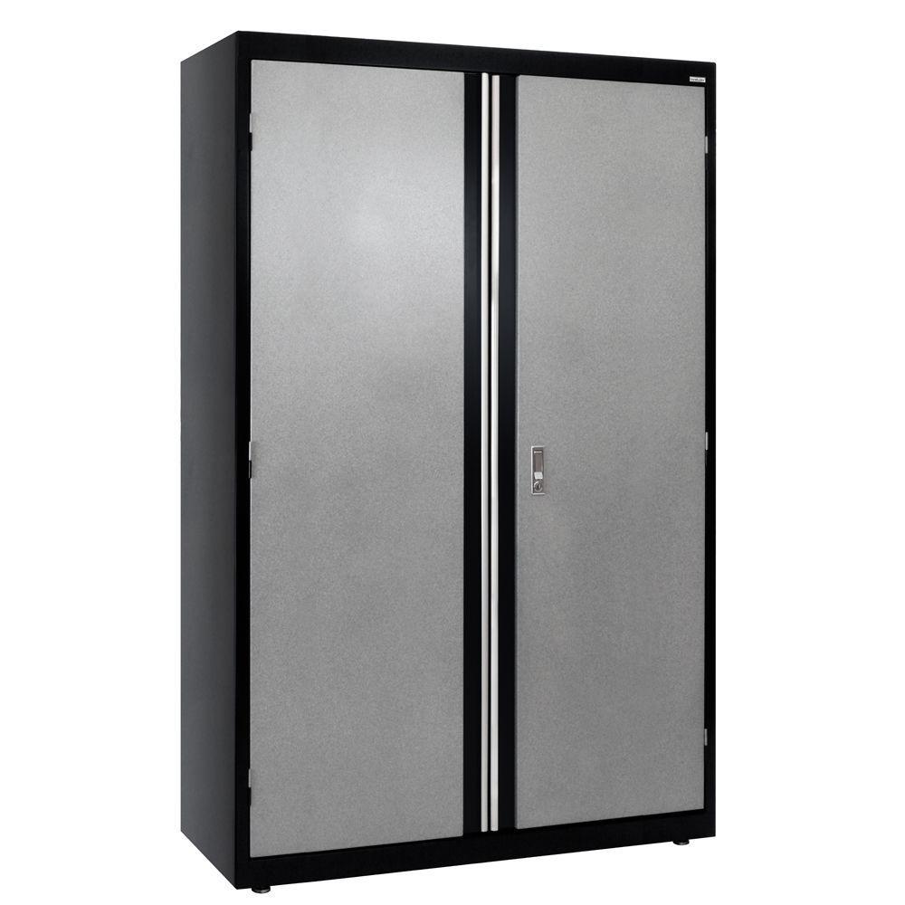 72 in. H x 46 in. W x 24 in. D Steel Modular Freestanding Jumbo Garage Cabinet in Black/Multi-Granite