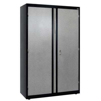 72 in. H x 46 in. W x 24 in. D Steel Modular Freestanding Jumbo Garage Cabinet in Black/Multi-Granite
