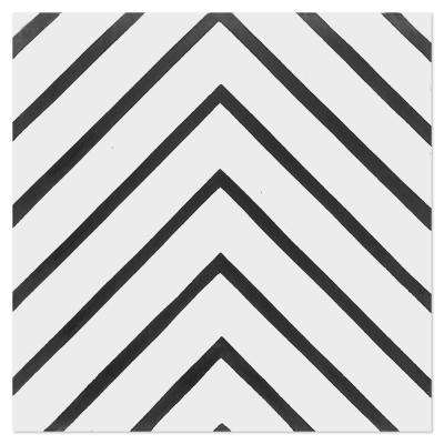 Labyrinth B and W Morning 8 in. x 8 in. Cement Handmade Floor and Wall Tile