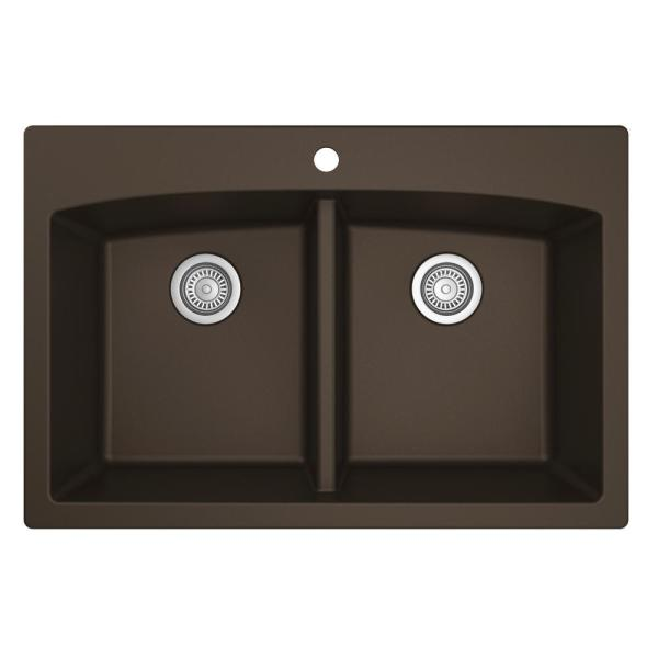 Drop-in Quartz Composite 33 in. Double Bowl Kitchen Sink in Brown