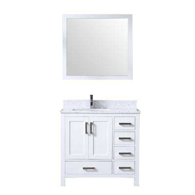 Jacques 36 in. Single Bath Vanity in White w/ White Carrera Marble Top w/ White Square Sink and 34 in. Mirror