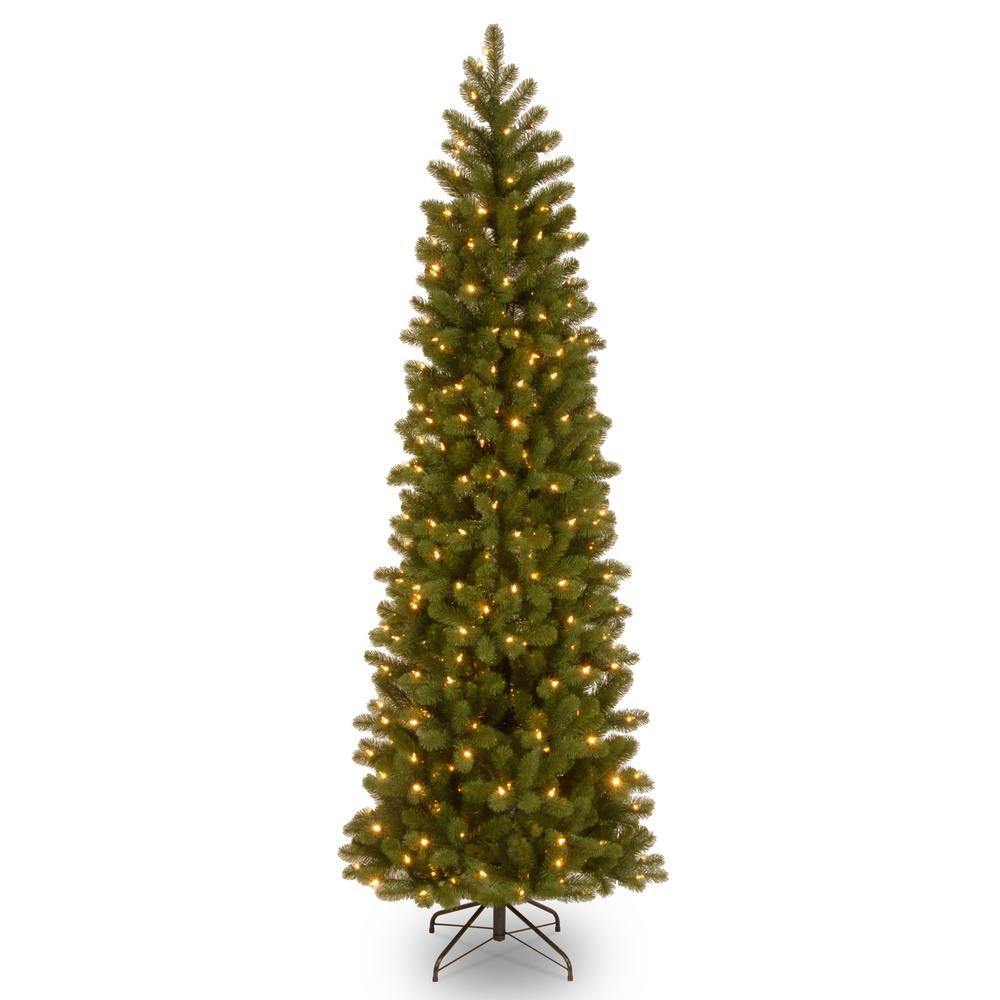 reputable site 72d09 42274 National Tree Company 9 ft. Downswept Douglas Pencil Slim Fir Artificial  Christmas Tree with Clear Lights