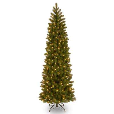 9 ft. Downswept Douglas Pencil Slim Fir Artificial Christmas Tree with Clear Lights