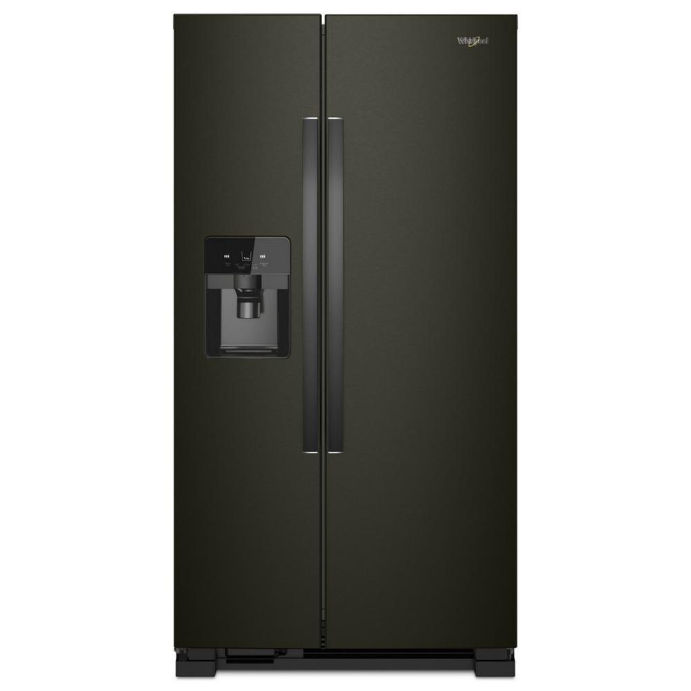 whirlpool black stainless steel appliances door refrigerator whirlpool 25 cu ft side by refrigerator in fingerprint resistant black stainless