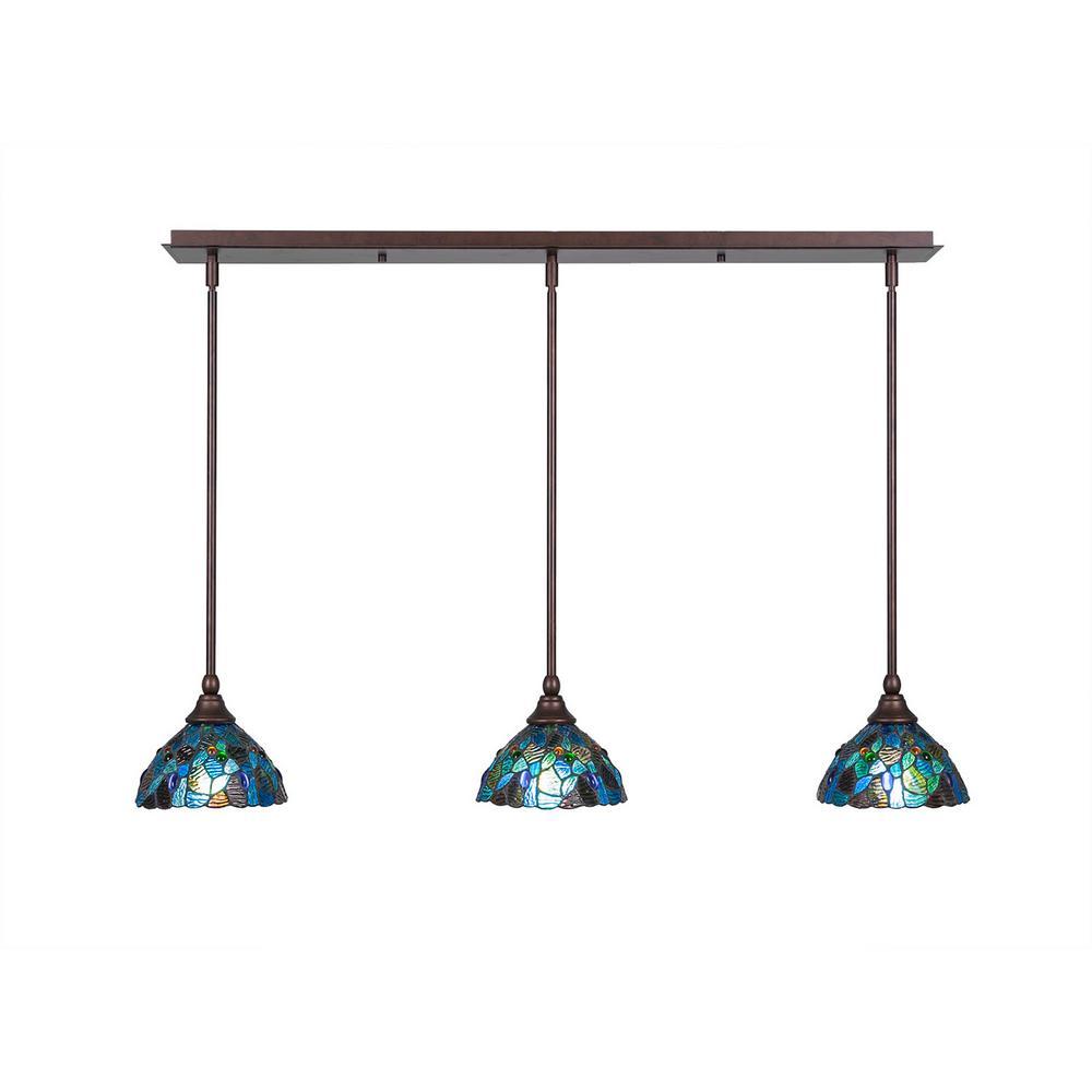 tiffany style pendant light. Cambridge 3-Light Bronze Island Pendant With Blue Mosaic Tiffany-Style Glass Tiffany Style Light