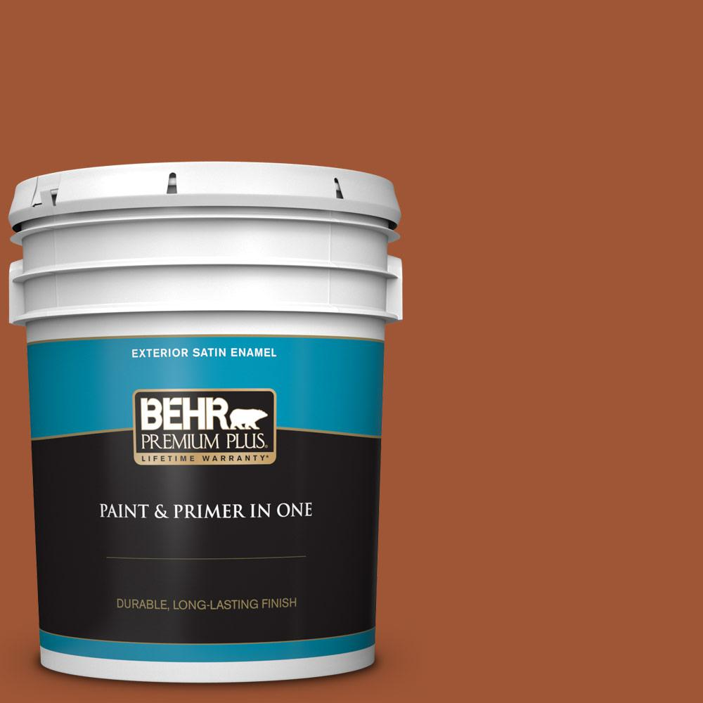Behr Premium Plus 5 Gal S H 230 Ground Nutmeg Satin Enamel Exterior Paint And Primer In One 934005 The Home Depot