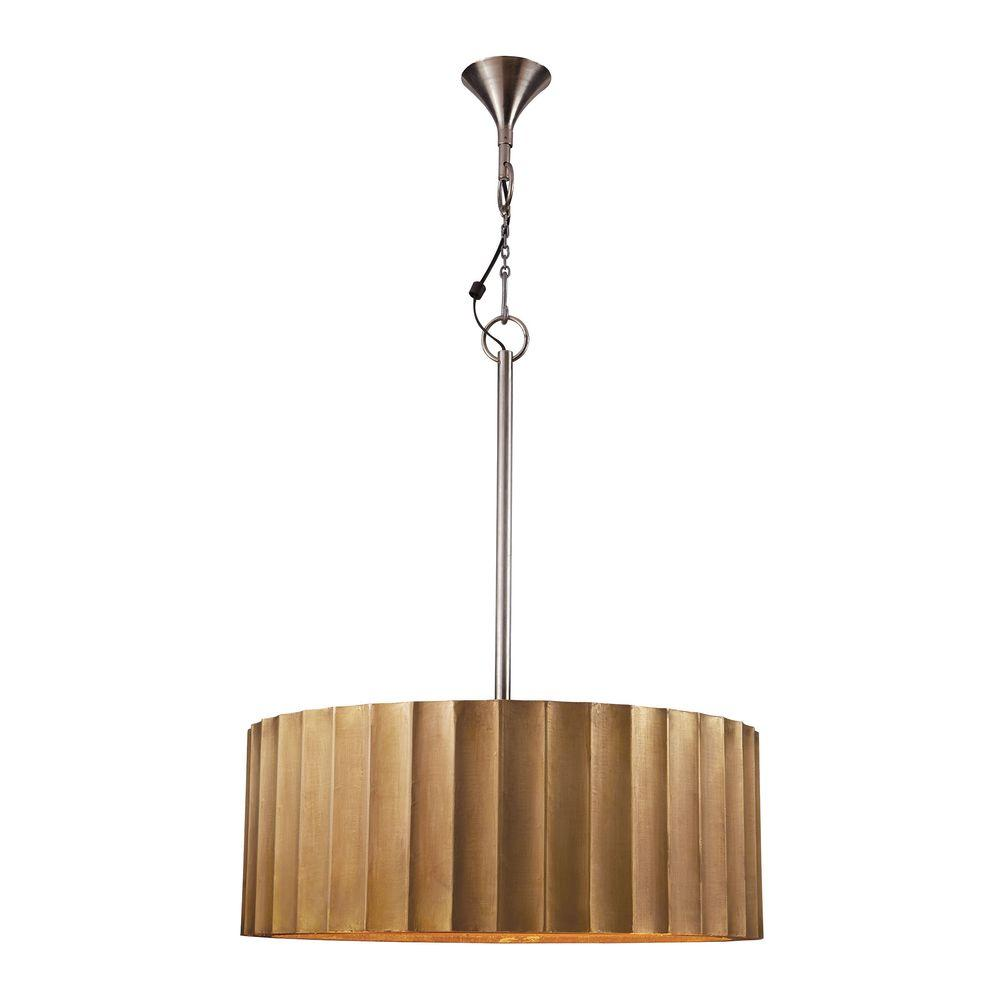 Titan Lighting Large Brass Clad Ribbed Pendant