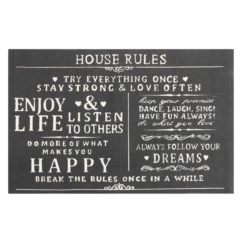 Chesapeake Merchandising House Rules Printed Typography Cotton Charcoal 2  Ft. X 3 Ft. Area
