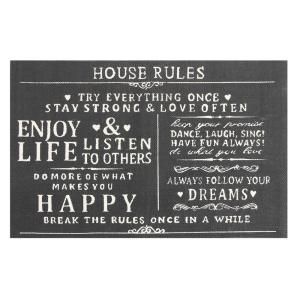 Chesapeake Merchandising House Rules Printed Typography Cotton Charcoal 3 ft. x 5 ft. Accent Rug by Chesapeake Merchandising
