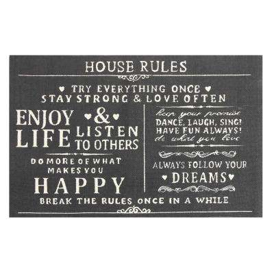 House Rules Printed Typography Cotton Charcoal 3 ft. x 5 ft. Area Rug