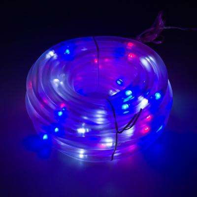 100 Light 32 ft. Solar Powered Integrated LED Red/White/Blue Christmas Rope Lights