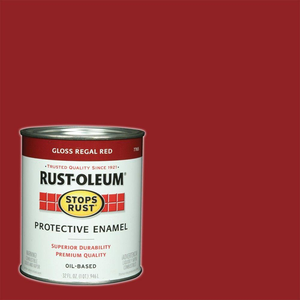 Rust Oleum Stops 1 Qt Protective Enamel Gloss Regal Red Interior Exterior