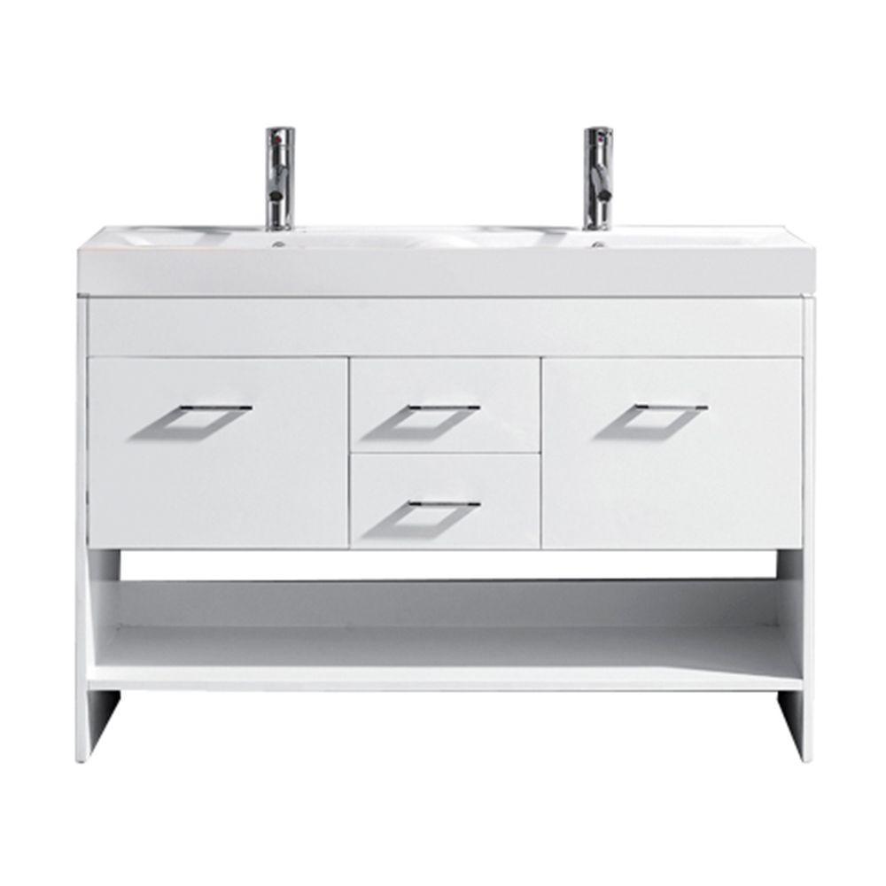 Virtu USA Gloria 48 in. W Bath Vanity in White with Ceramic Vanity Top in White Ceramic with Square Basin