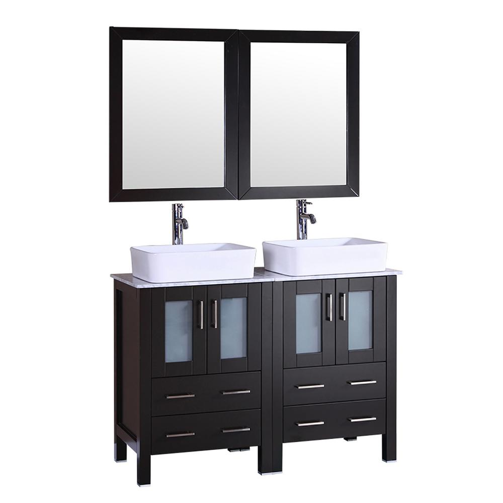 Bosconi 48 in. W Double Bath Vanity with Carrara Marble Vanity Top in Gray with White Basin and Mirror
