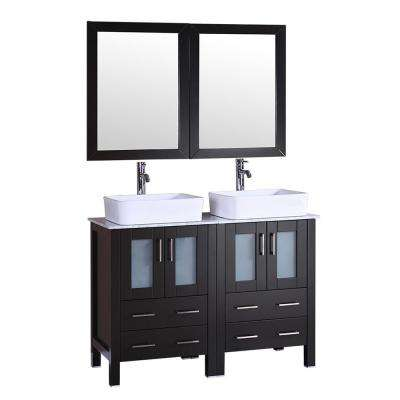 48 in. W Double Bath Vanity with Carrara Marble Vanity Top in Gray with White Basin and Mirror