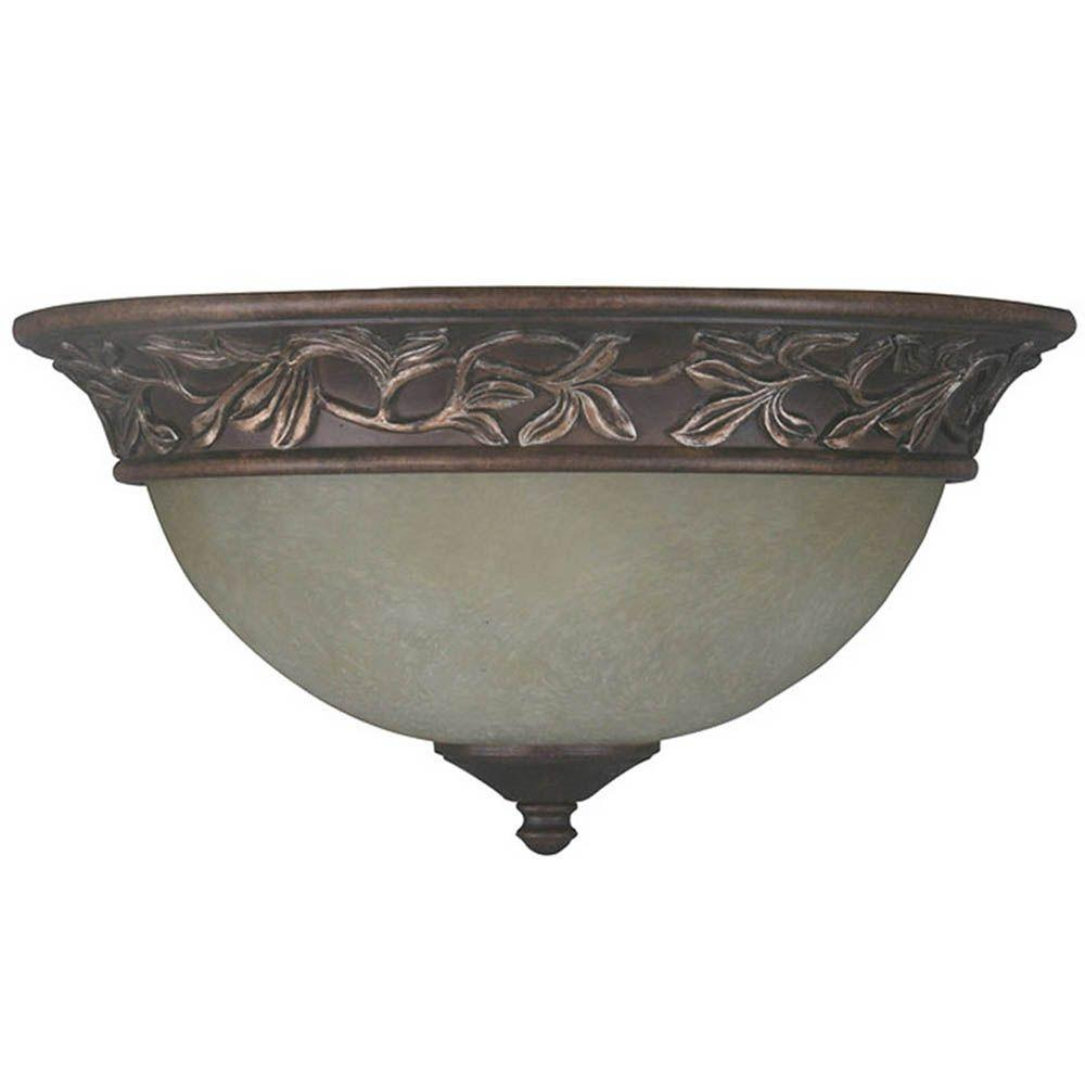 Hampton Bay Sheffield 13 in. 2-Light Venetian Bronze Flushmount with Tea Stained Glass Shade