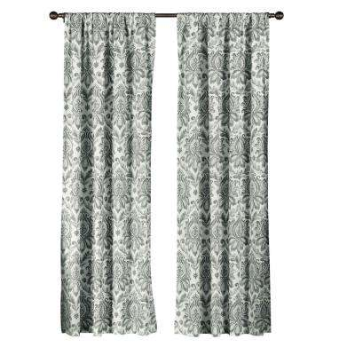 Semi-Opaque Biltmore 100% Cotton Extra Wide 96 in. L Rod Pocket Curtain Panel Pair, Grey (Set of 2)