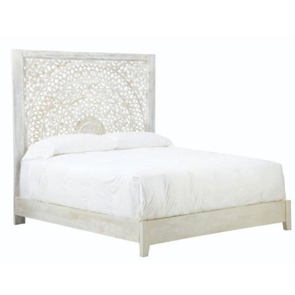 Chennai Whitewash King Bed