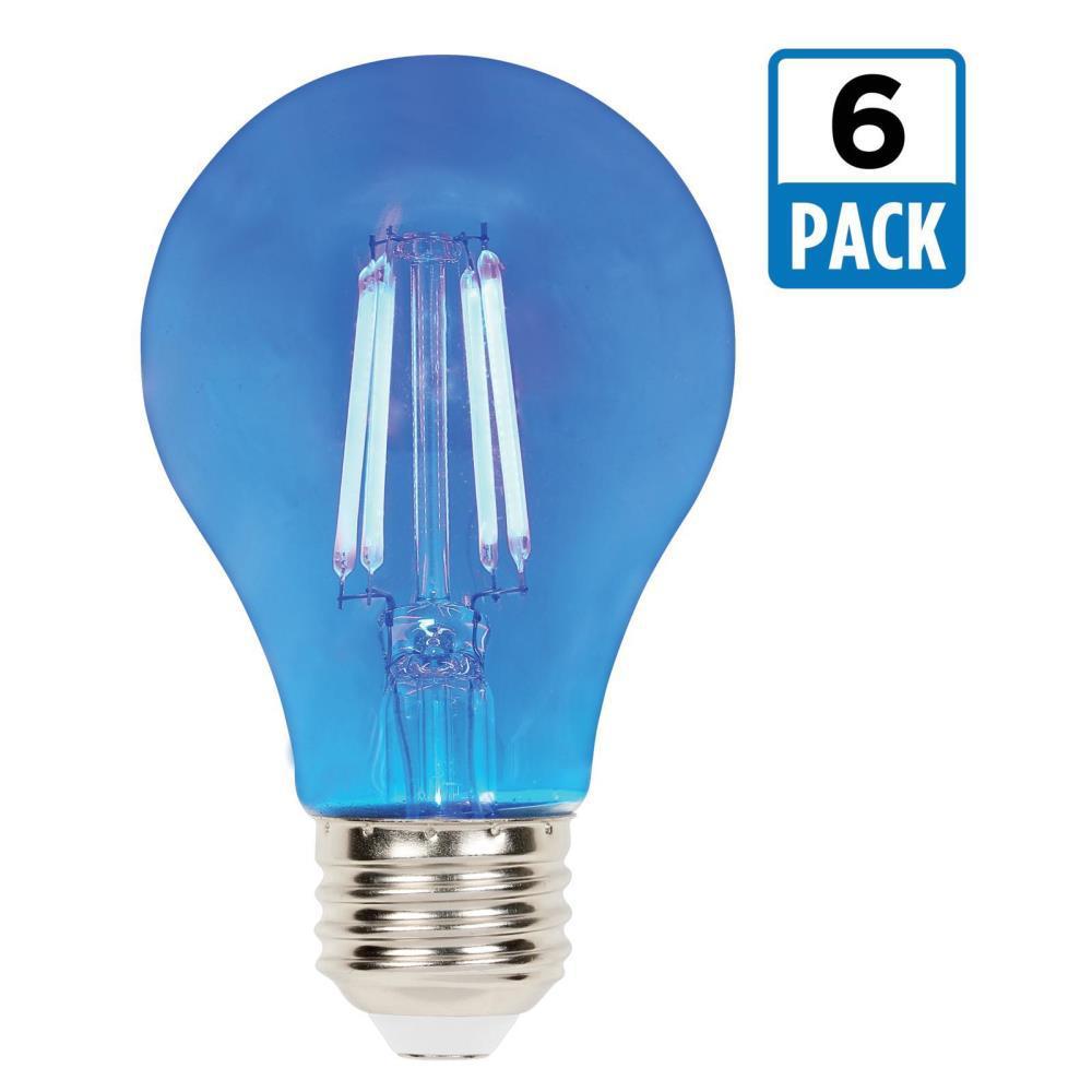 40-Watt Equivalent A19 Dimmable Blue Filament LED Light Bulb (6-Pack)